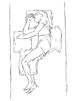 image showing person lying in bed with pillow between legs and pillows on each side